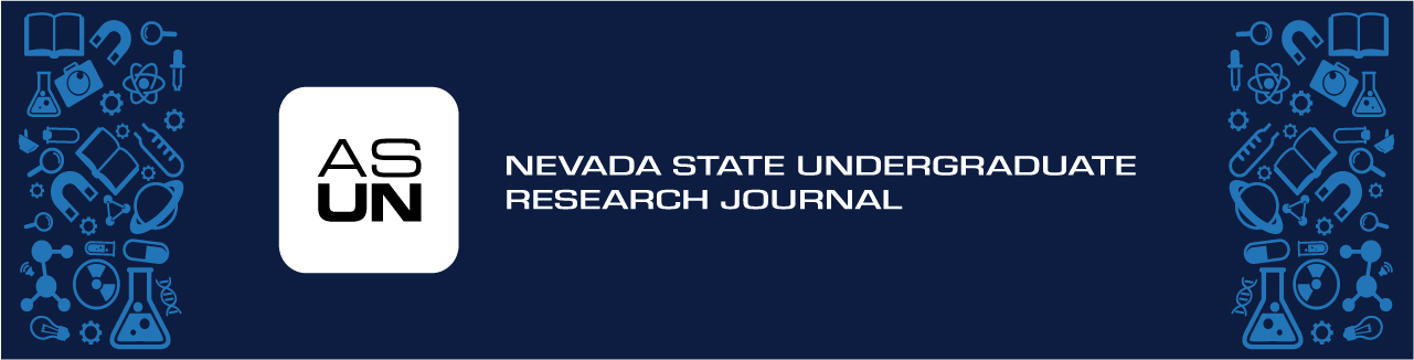 Nevada State Undergraduate Research Journal text over blue background with ASUN logo